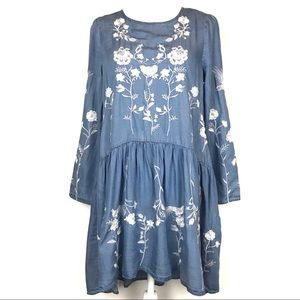 Chicwish Chambray Floral Embroidered Boho Dress S